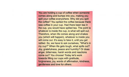 We love this little paragraph about holding a cup of coffee.