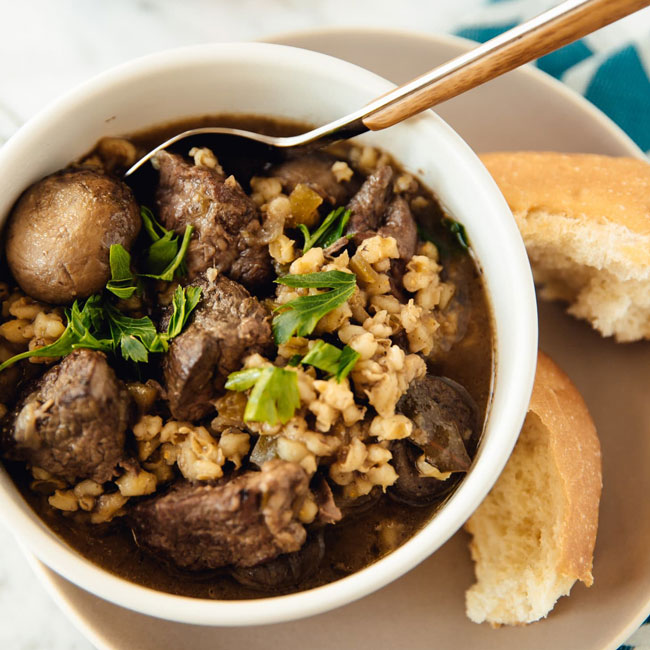 Slow-Cooker Beef and Barley Stew with Mushrooms