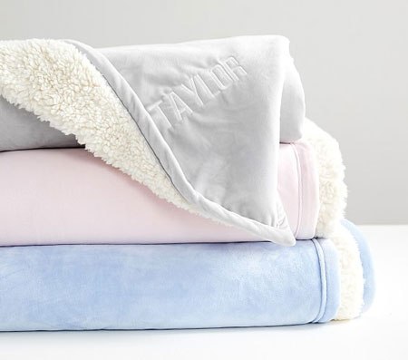 Name Embroidered Sherpa Baby Blanket