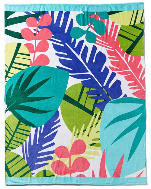 Multi-Leaves Brazilian Velour Beach Towel