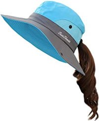 Mesh Wide Brim Sun UV Protection Hat with Ponytail Hole